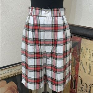 Vintage High Waist Windowpane Plaid Rayon Shorts